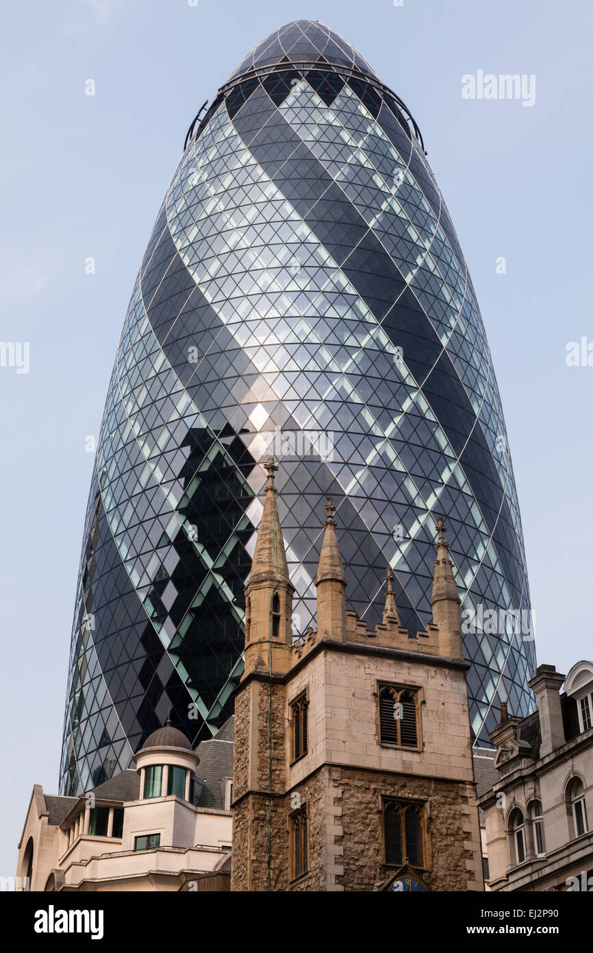 Old, Modern and New Buildings in City of London - Stock Image