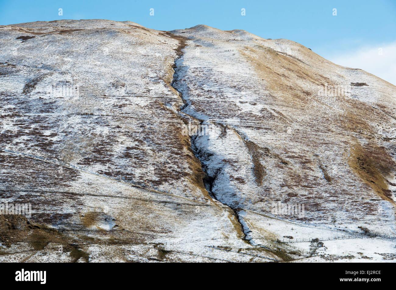 Hillside in the winter snow. Peebleshire. Scotland - Stock Image