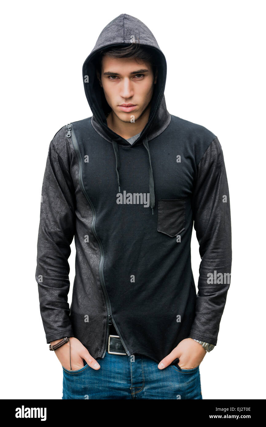 20d3784a Handsome young man in black hoodie sweater isolated on white looking at  camera