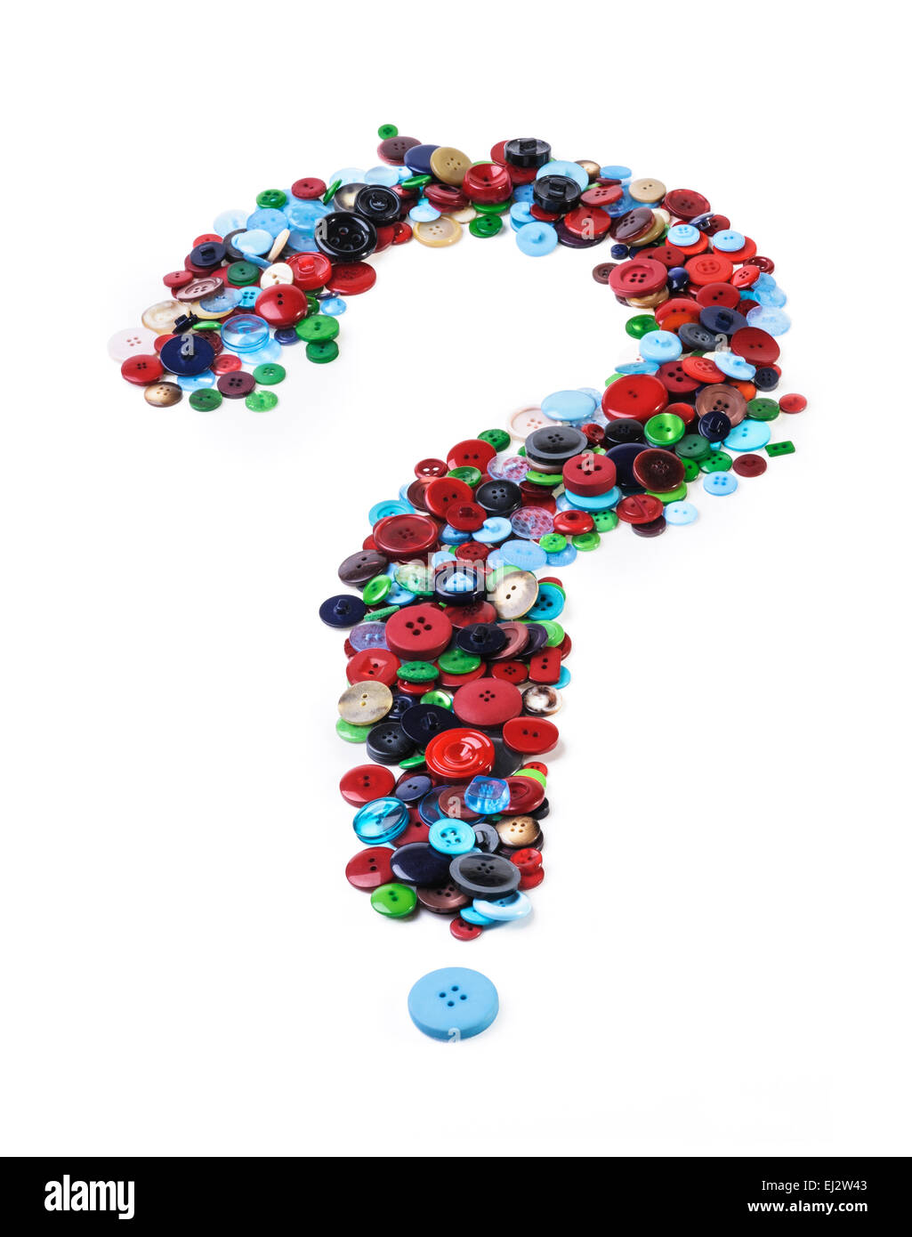 Many buttons formed in the shape of a question mark. - Stock Image