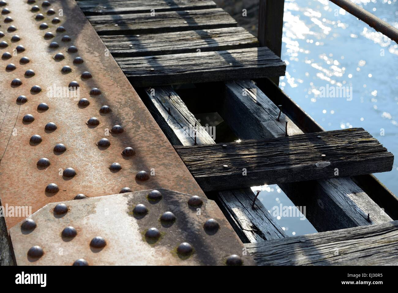 old bridge over river - Stock Image