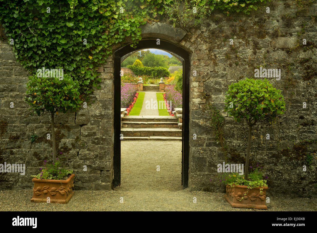 Entry into the Gardens at Dromoland Castle. Ireland - Stock Image