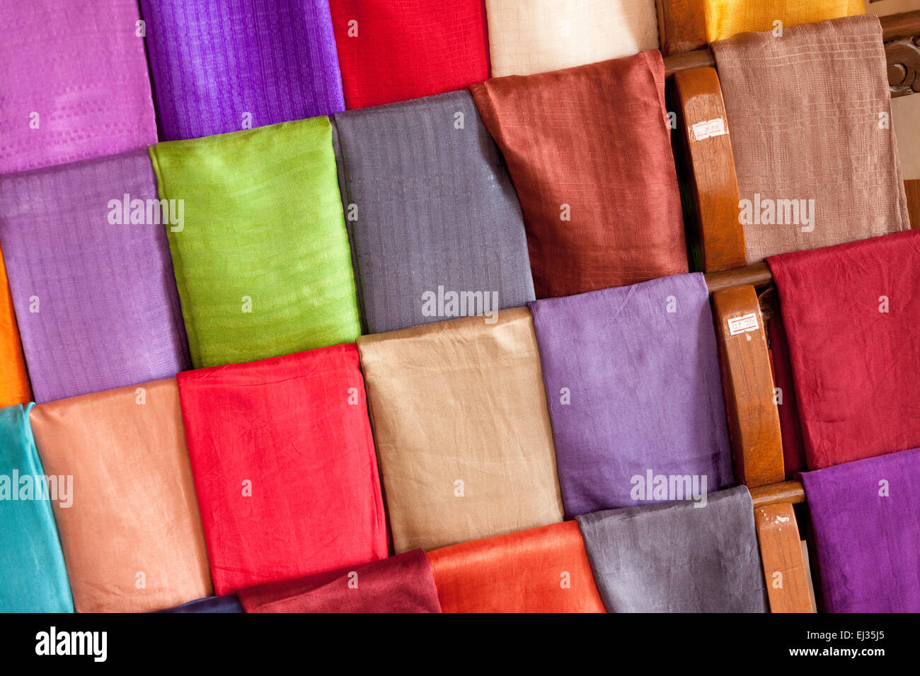 Colourful scarves made of lotus silk and woven at the weaving village, Inle Lake, Myanmar ( Burma ), Asia Stock Photo