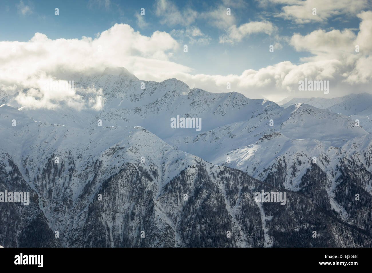 beautiful winter landscape in one of most famous ski resort in stock