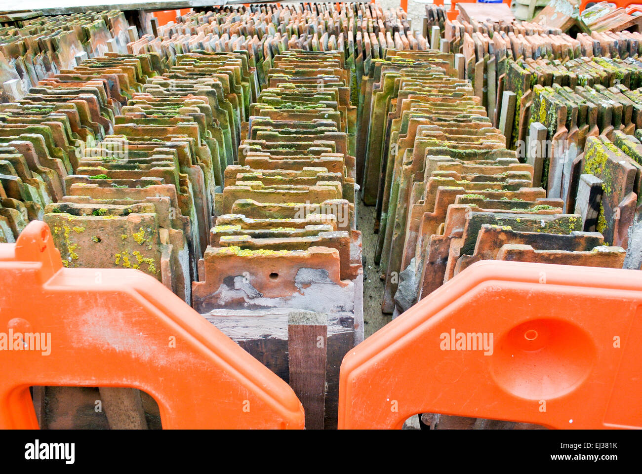 Reclaimed roof tiles - Stock Image