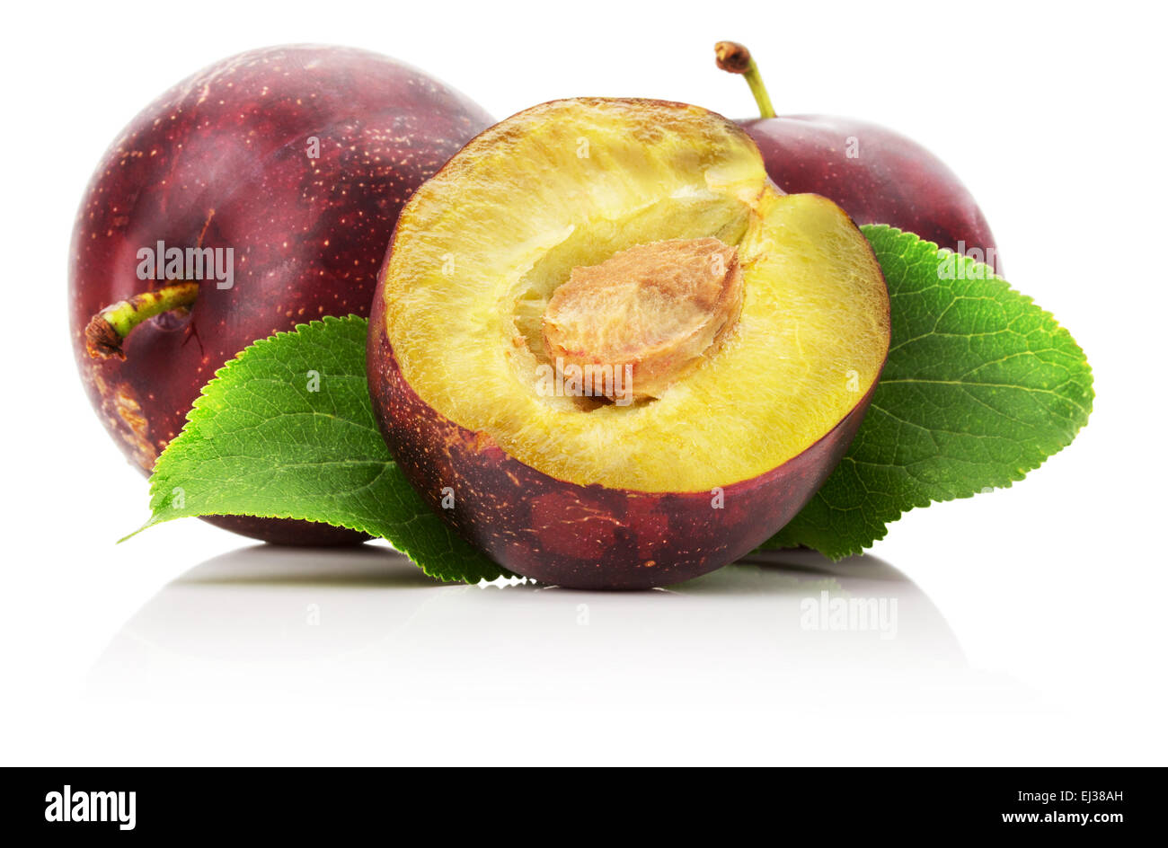 juicy plump with slice isolated on the white background. - Stock Image