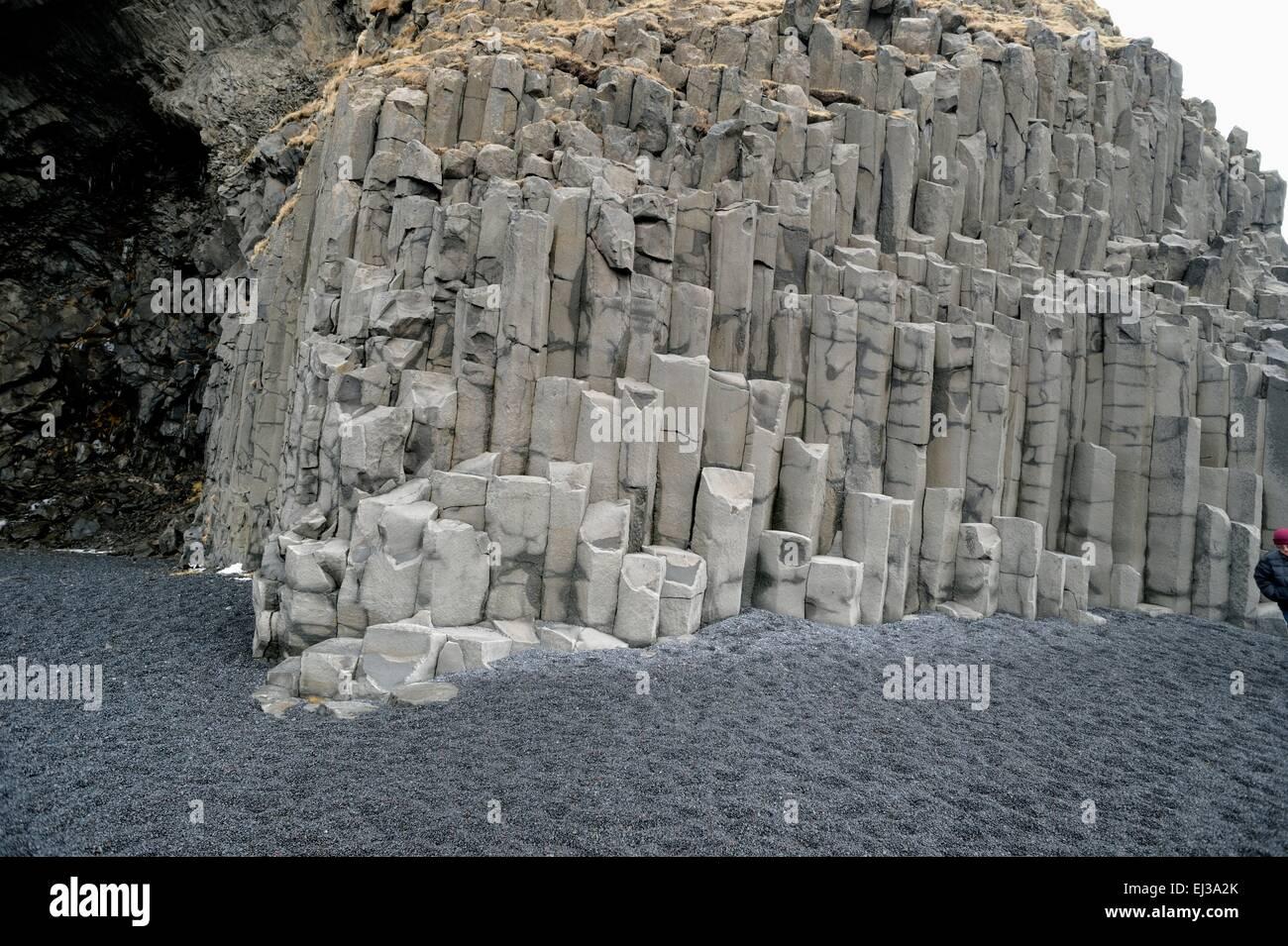 Volcanic Basalt columns on Iceland beach - Stock Image