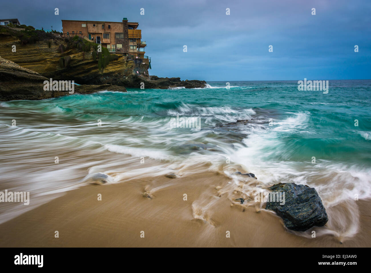 Waves and rocks in the Pacific Ocean at Table Rock Beach, in Laguna Beach, California. Stock Photo