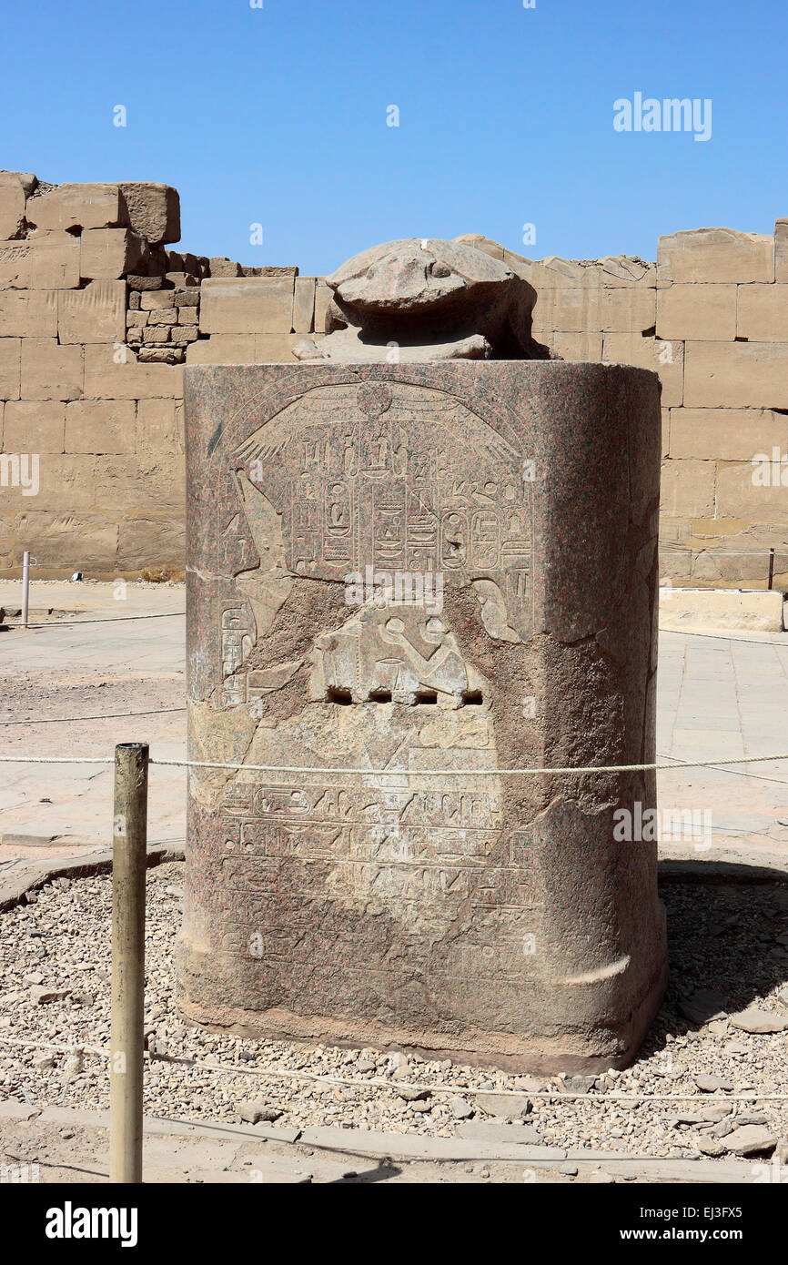Granite scarab beetle statue in the Karnak Temple, Luxor, Egypt. - Stock Image
