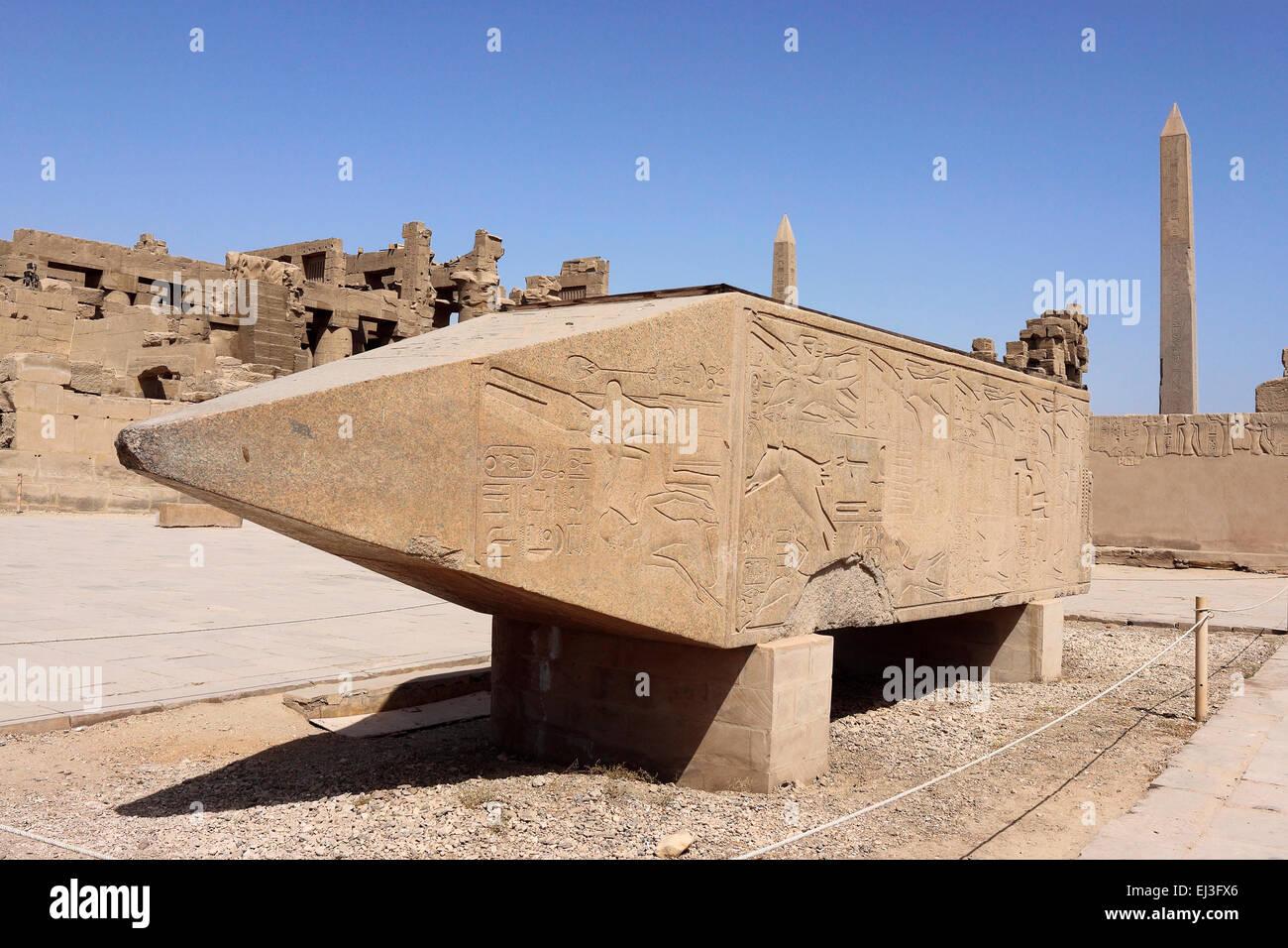 Fallen Obelisk of Hatshepsut Karnak Temple, Luxor, Egypt Stock Photo