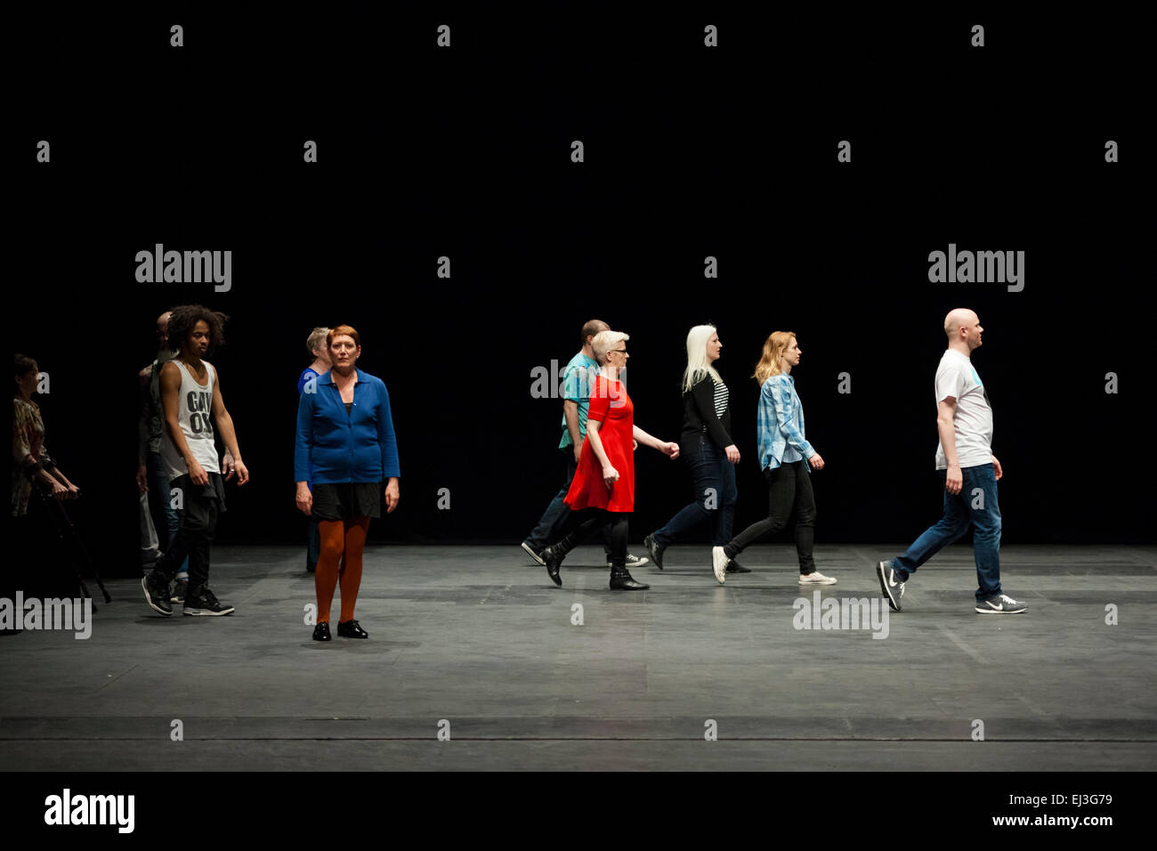 London, UK. 20th March 2015 Sadler's Wells presents Condoco Dance Company in The Show Must Go On by Jerome Bel Stock Photo