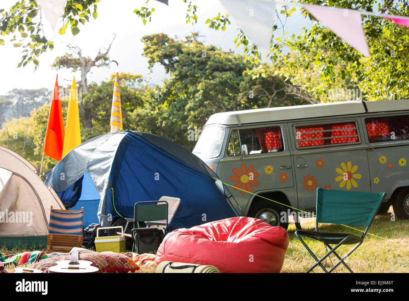 Empty campsite at music festival - Stock Image