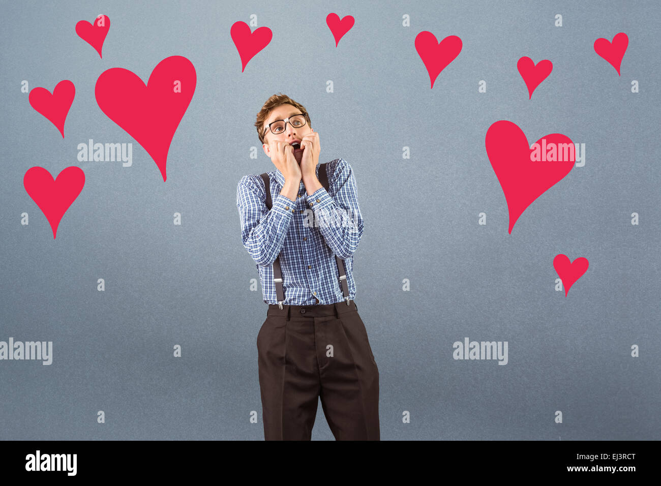Composite image of geeky hipster biting his nails - Stock Image