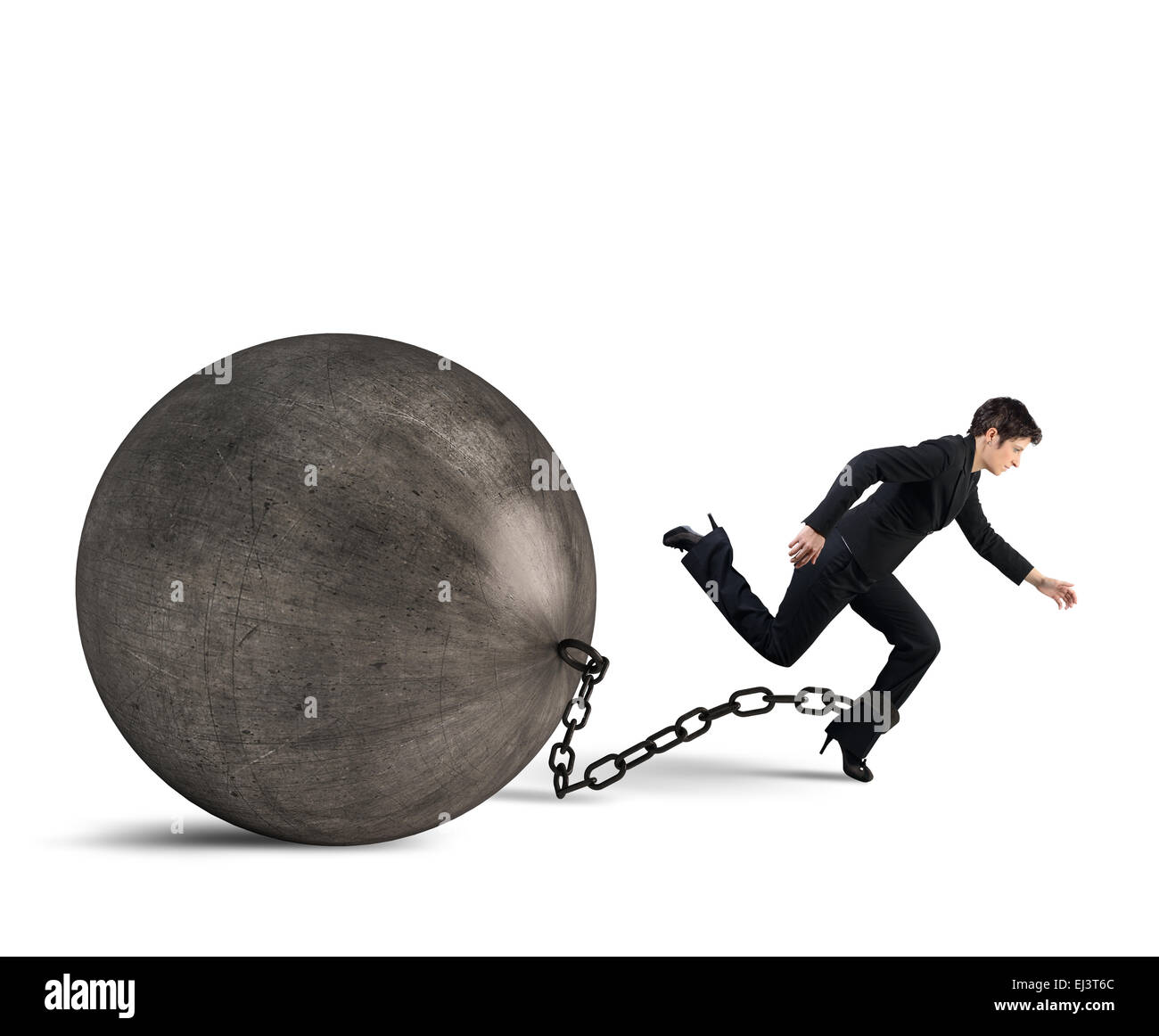 Businesswoman escape Stock Photo