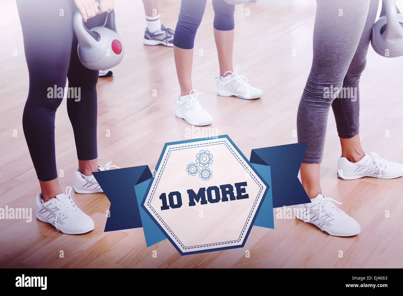 The word 10 more and fit women exercising with kettlebells - Stock Image