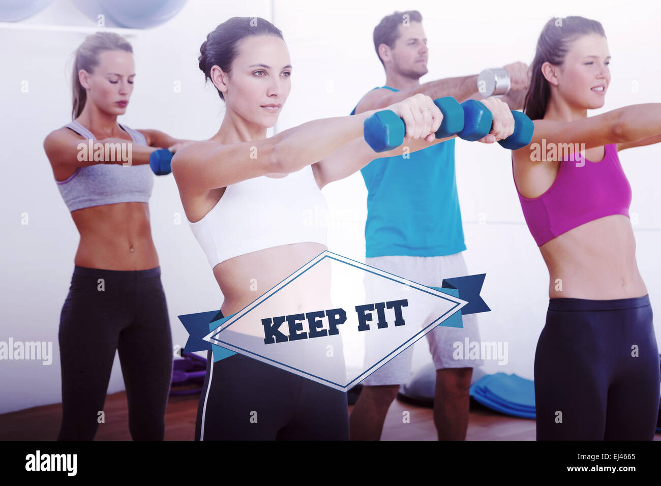 The word keep fit and class exercising with dumbbells - Stock Image