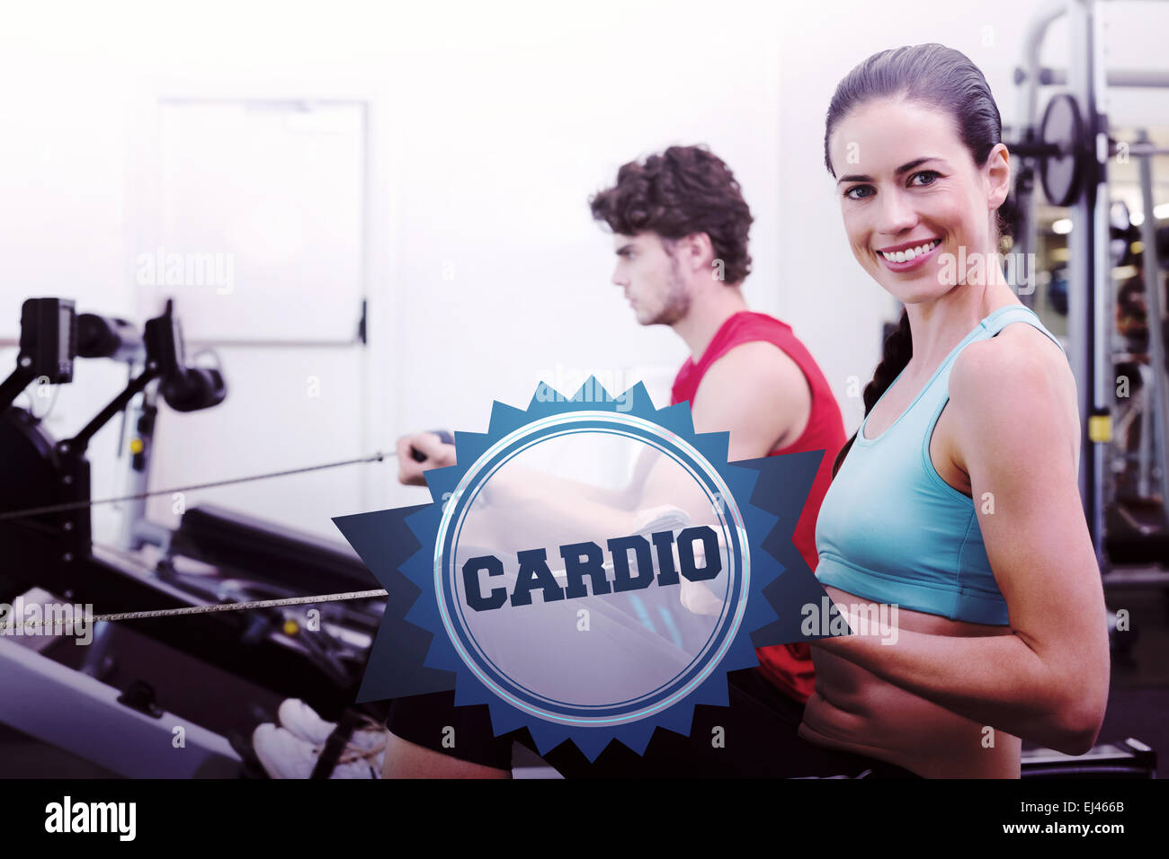 The word cardio and smiling brunette working out - Stock Image