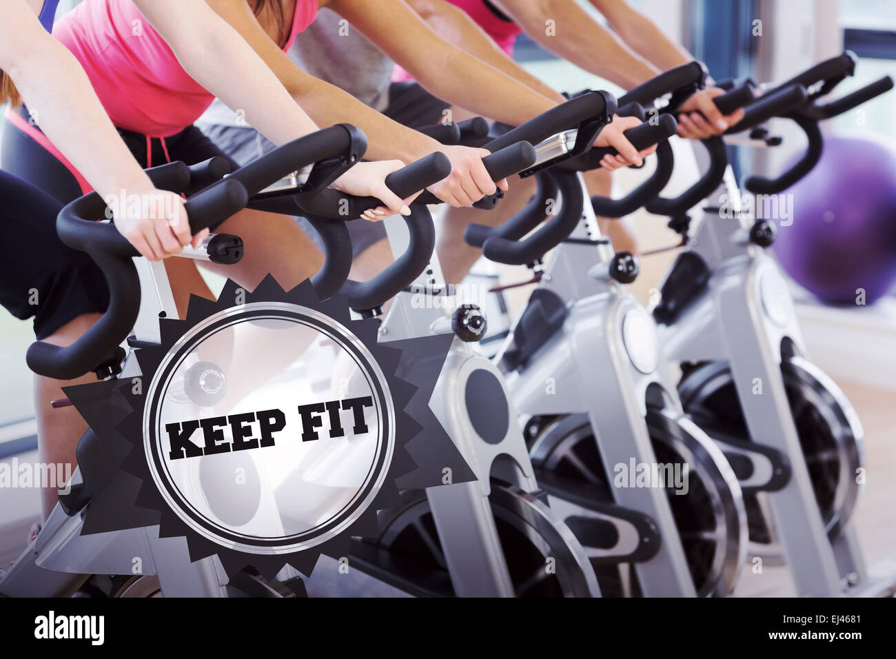 Keep fit against badge - Stock Image