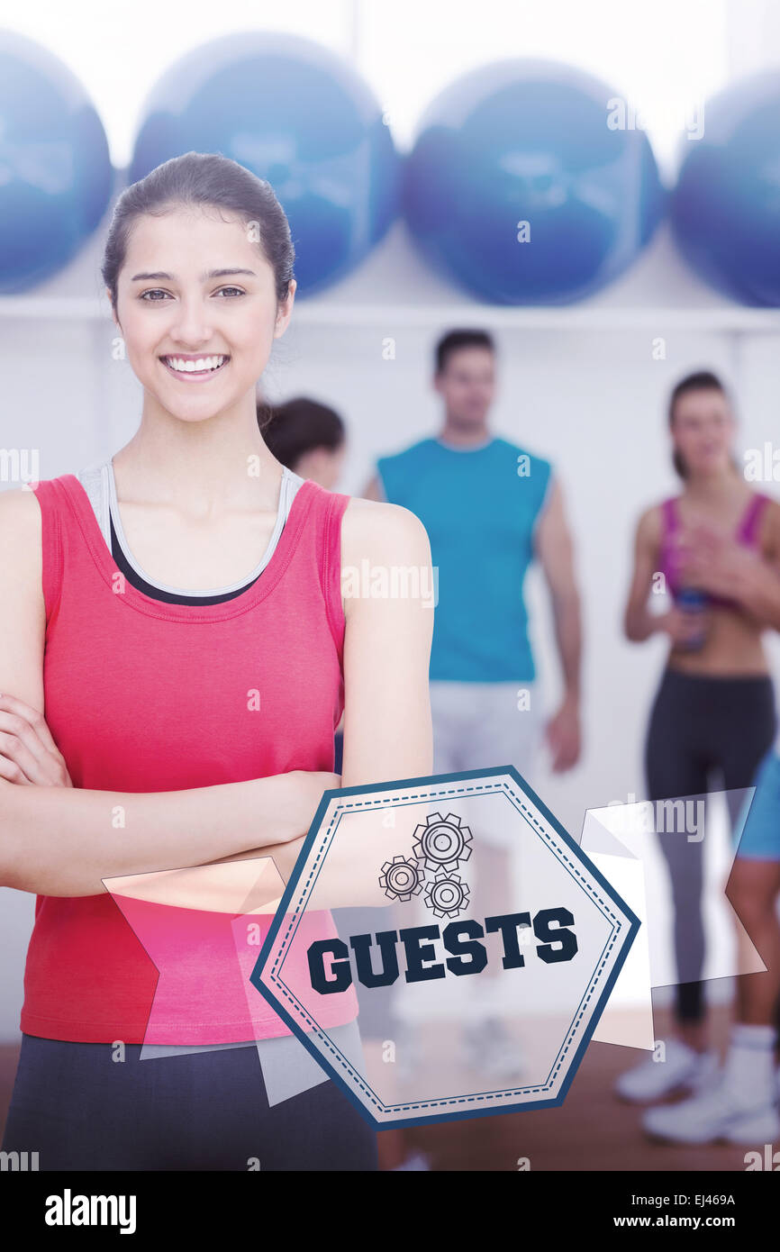 Guests against hexagon - Stock Image