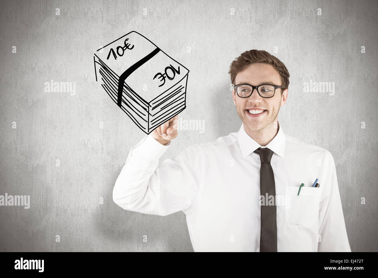 Composite image of geeky businessman smiling and pointing - Stock Image