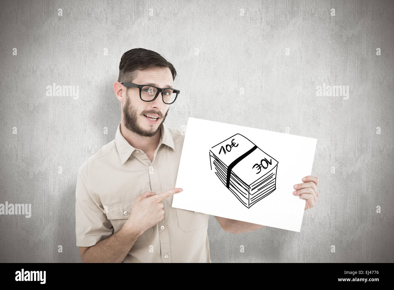 Composite image of geeky hipster pointing at poster - Stock Image