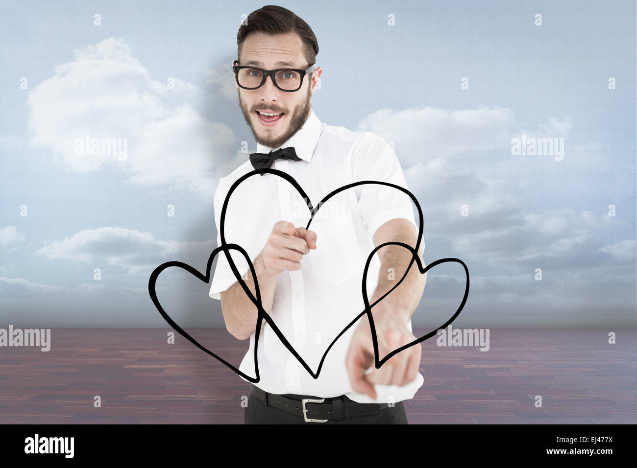 Composite image of geeky hipster pointing at camera - Stock Image