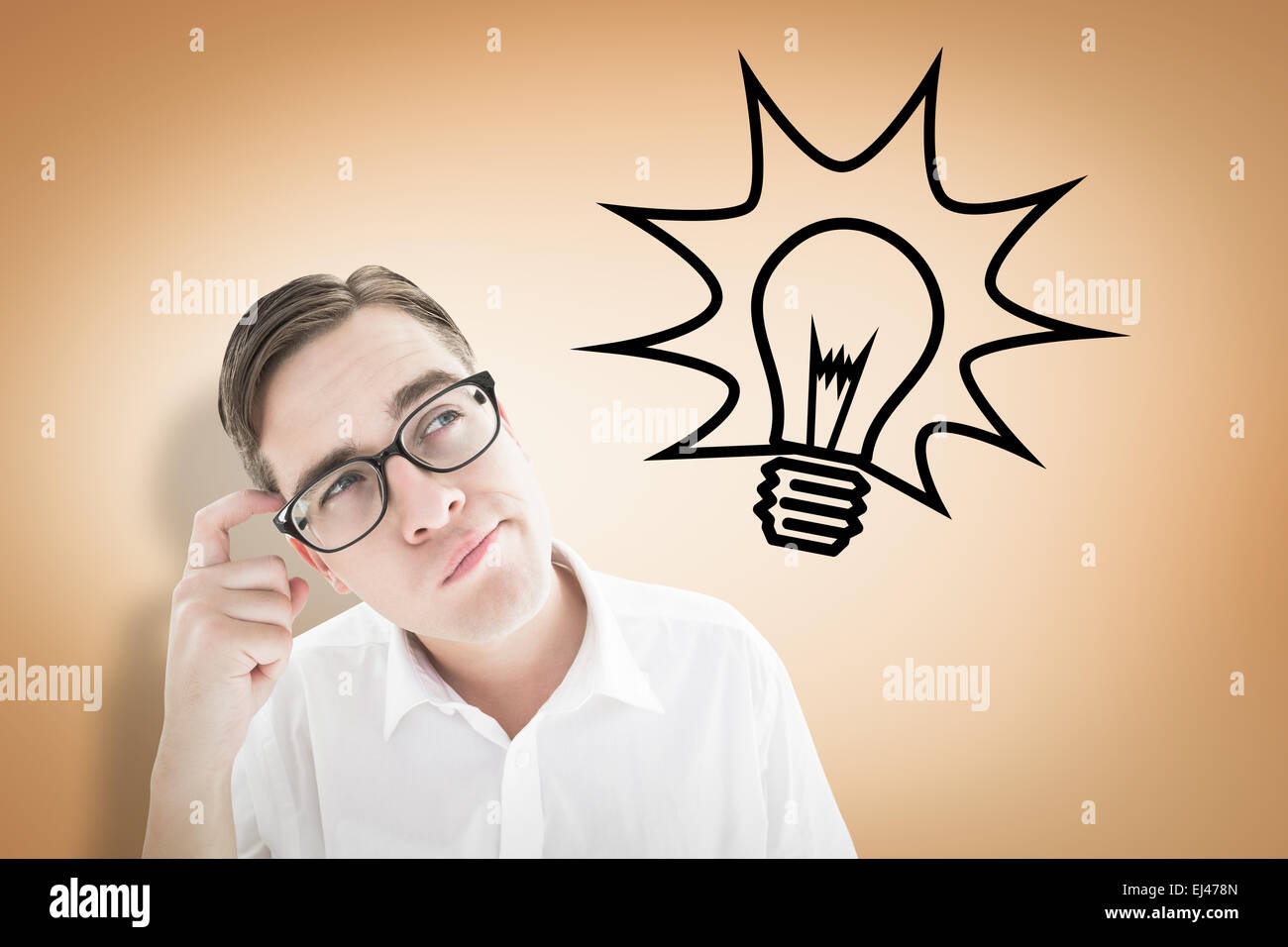Composite image of geeky businessman scratching his head - Stock Image