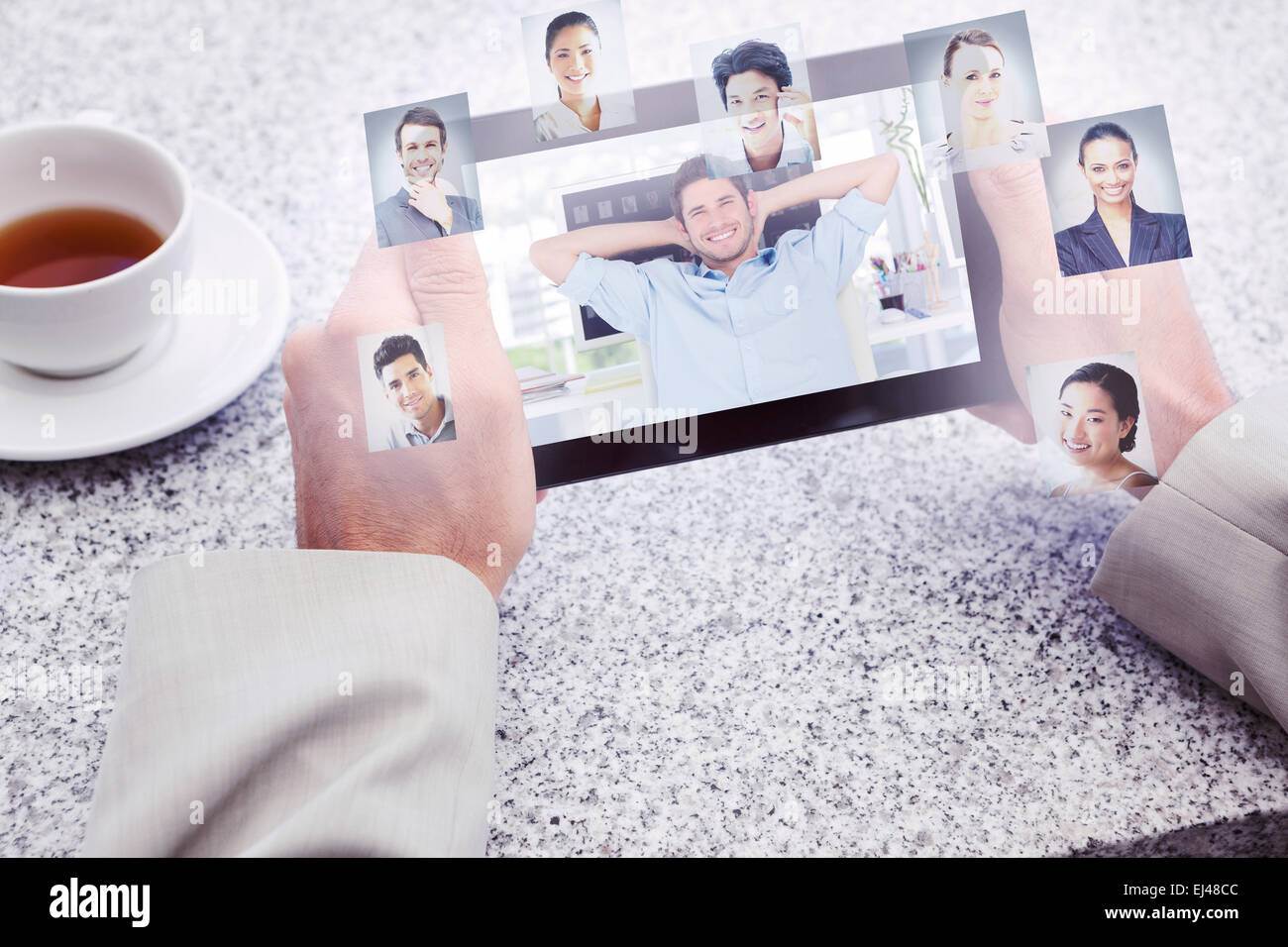 Composite image of cheerful creative business employee resting - Stock Image