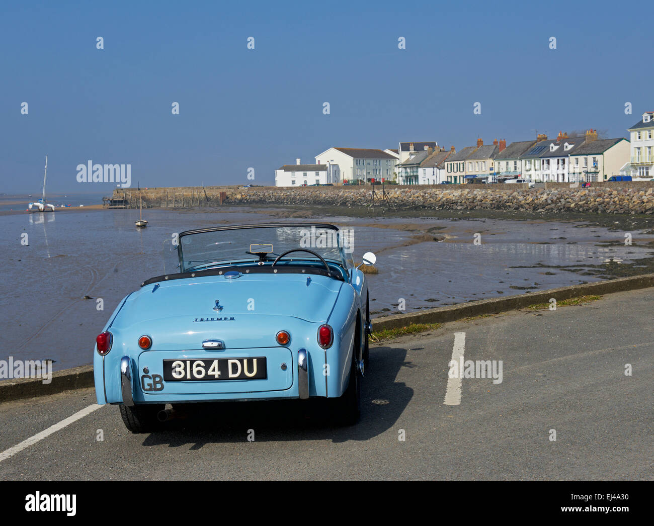 Triumph convertible sports car parked at Instow, Devon, England UK - Stock Image