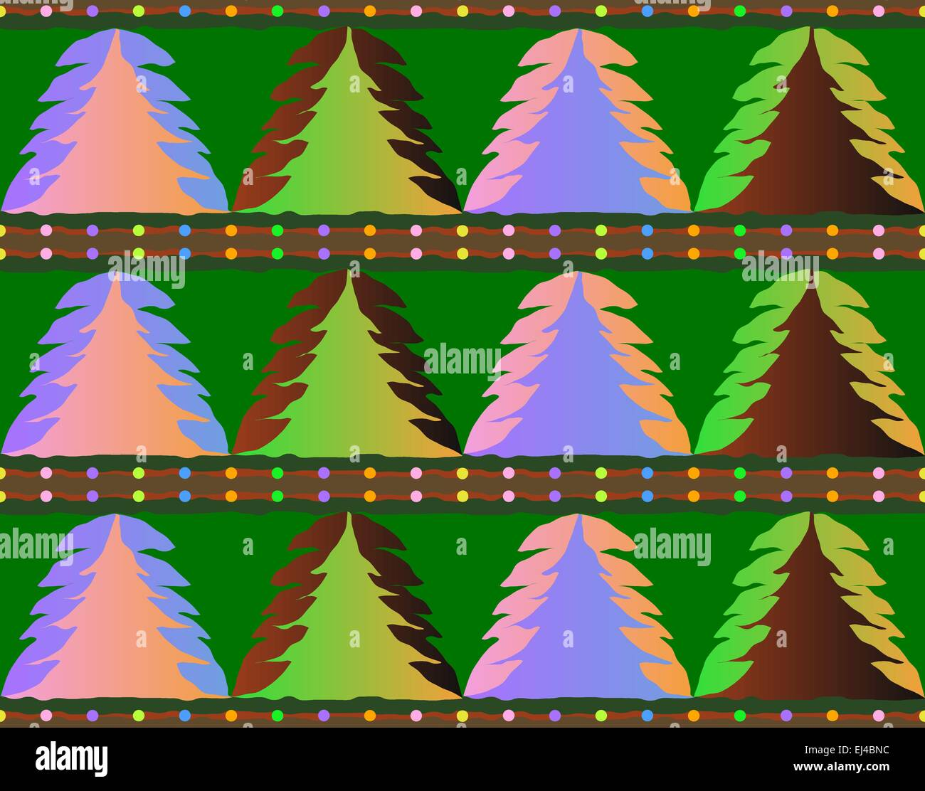 Seamless Christmas Tree Pattern Texture With Colorful Balls For Background Wallpaper Wrapping Paper Or Fabric