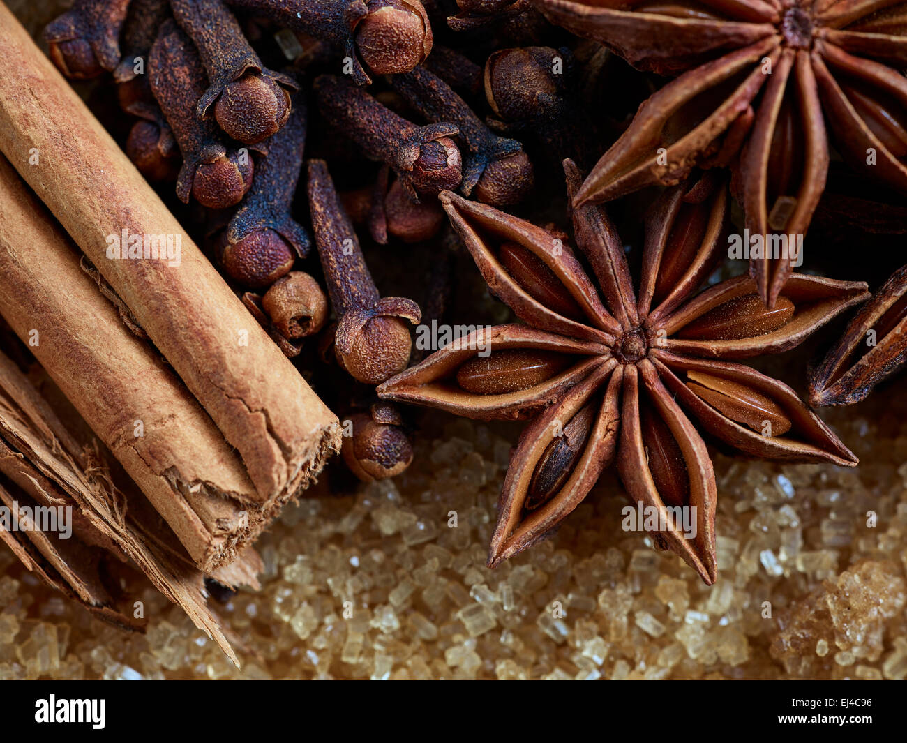 Cinnamon, Cloves, Star anise and Brown Sugar - Stock Image