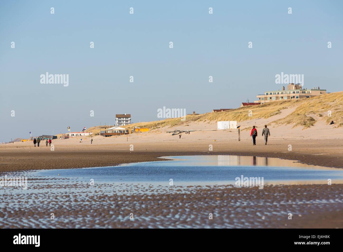 Beach, North Sea coast, Bergen aan Zee, North Holland, Netherlands, - Stock Image