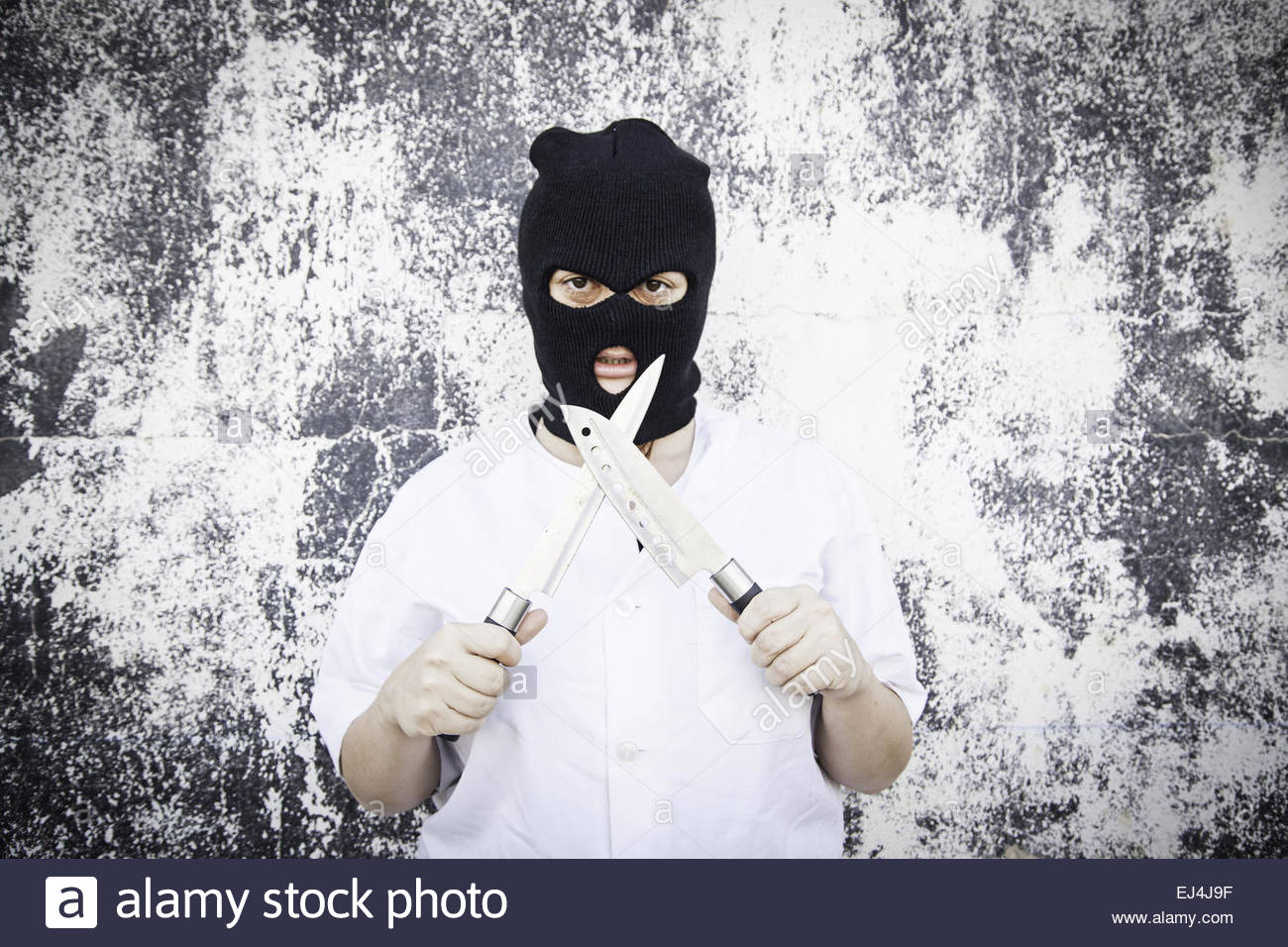 Violent woman with bloody mask, halloween Stock Photo