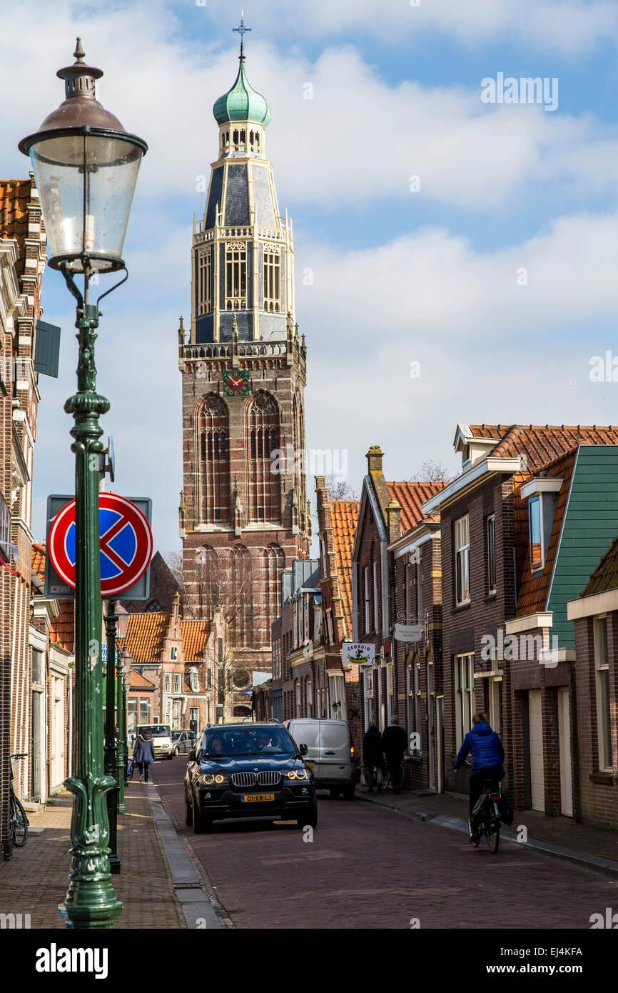 Historic town of Enkhuizen, North Holland, near the IJsselmeer, tower of Zuiderkerk church, - Stock Image