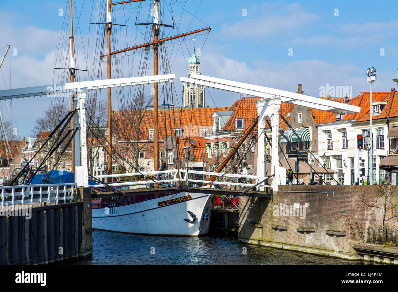 Historic town of Enkhuizen, North Holland, near the IJsselmeer, sailing ships in Oudehaven - Stock Image
