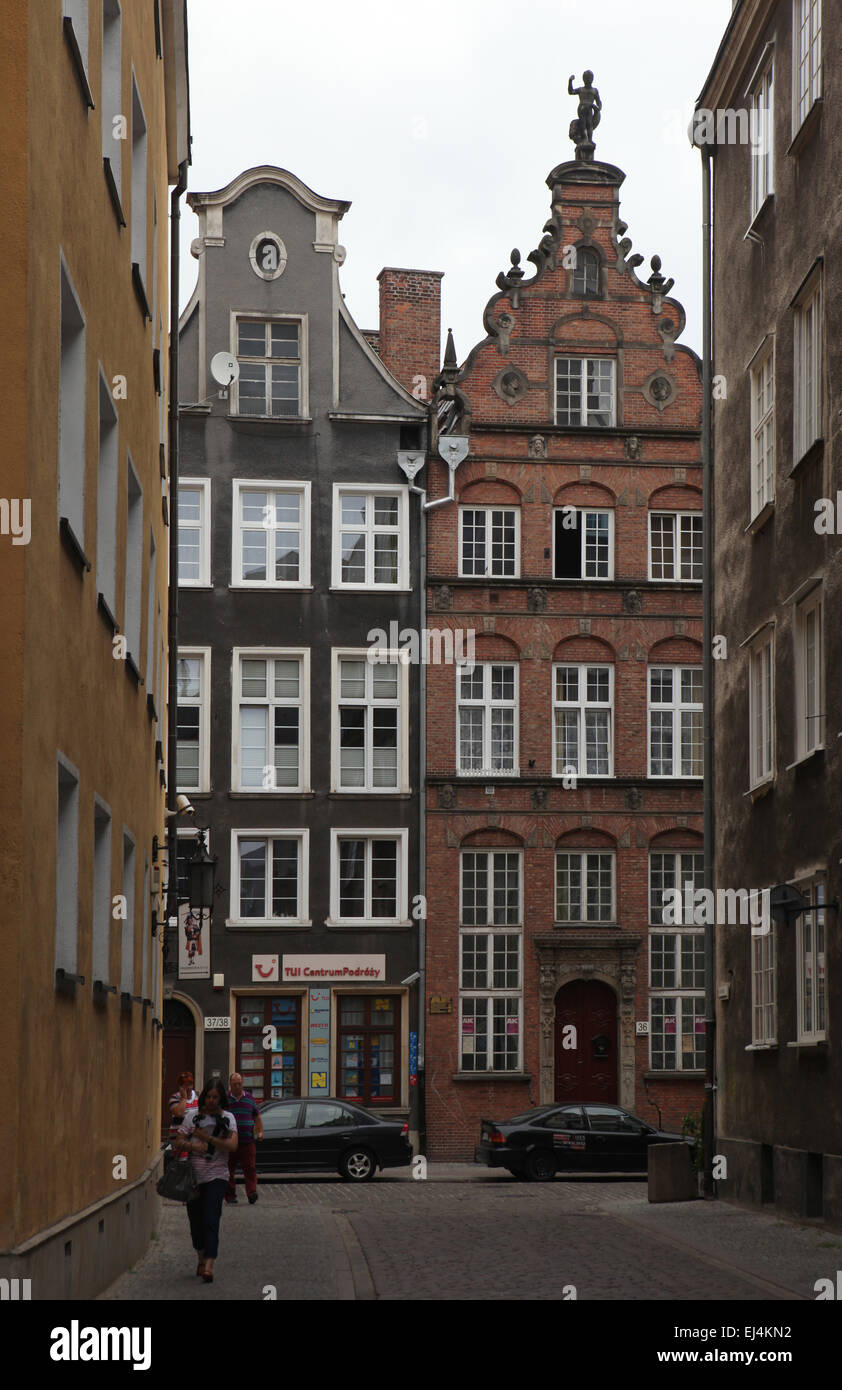 Dutch style houses in the historical centre in Gdansk, Poland. - Stock Image