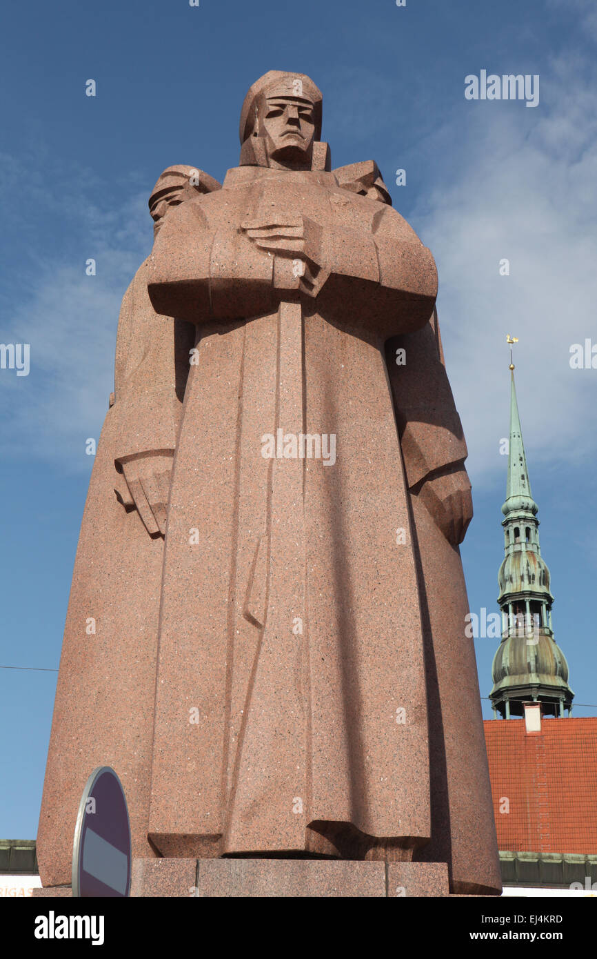 Soviet era monument to the Latvian Red Riflemen in Riga, Latvia. - Stock Image