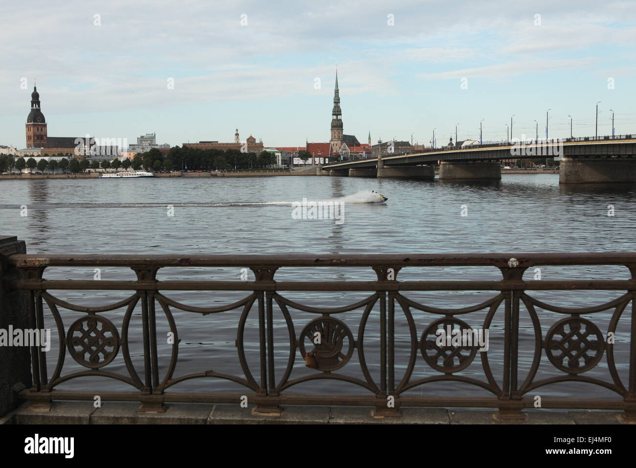 Riga Cathedral and St Peter's Church at the embankment of the River Daugava in Riga, Latvia. - Stock Image