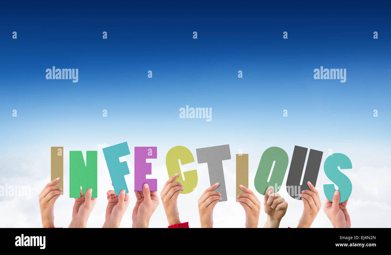 Composite image of hands holding up infectious - Stock Image
