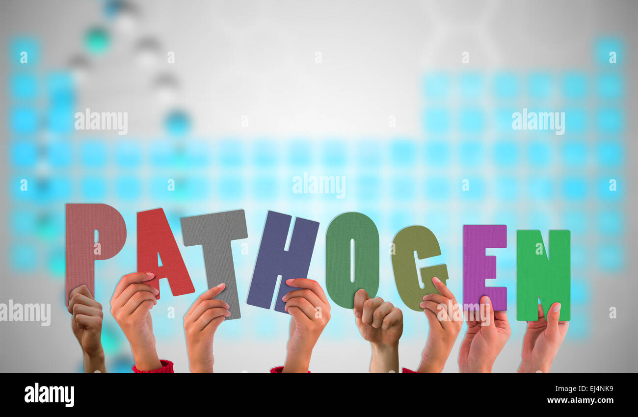 Composite image of hands holding up pathogen - Stock Image