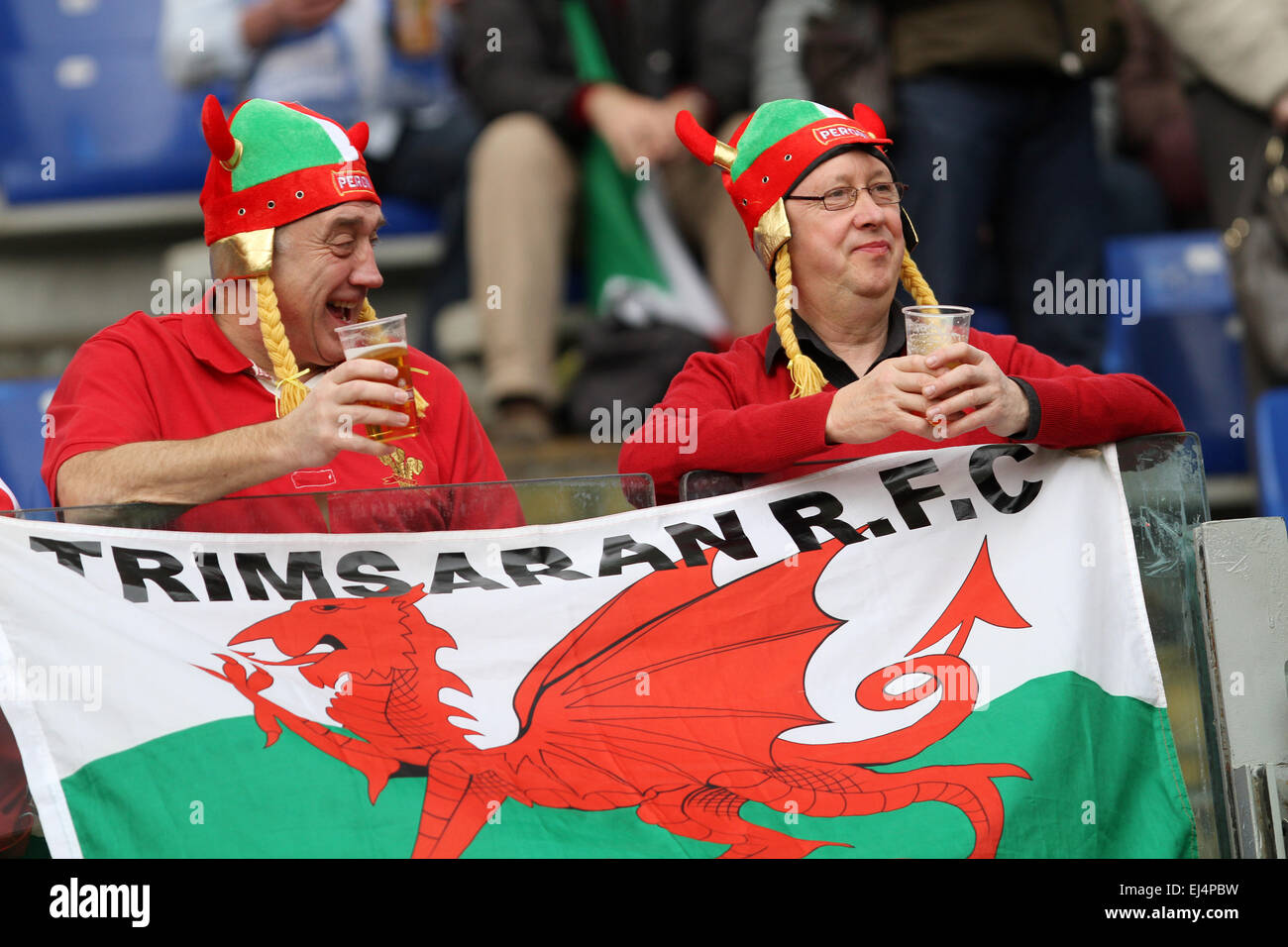 Rome, Italy. 21st March, 2015. Wales fans during the Six Nations international rugby union match between Italy and - Stock Image