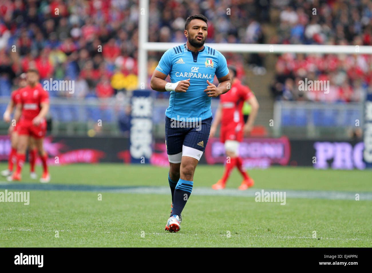 Rome, Italy. 21st March, 2015. Kelly Haimona (Italy) during the Six Nations international rugby union match between - Stock Image