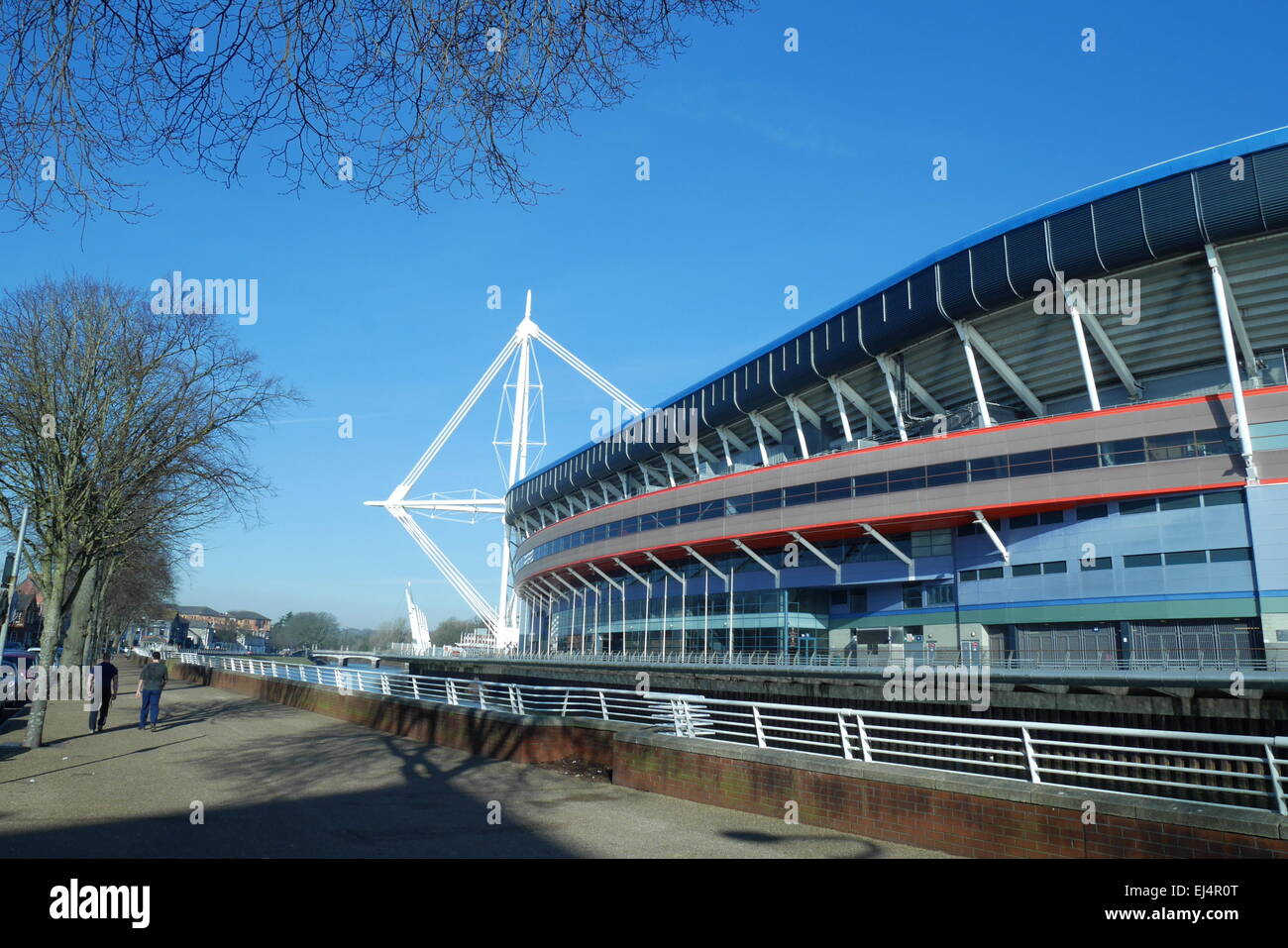 Principality Stadium in winter, overlooking the River Taff, Cardiff, South Glamorgan, Wales, UK - Stock Image