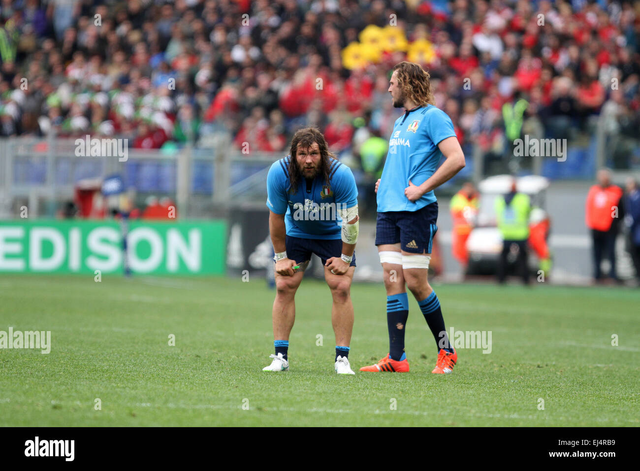 Rome, Italy. 21st March, 2015. Martin Castrogiovanni (Italy) and Joshua Furno (Italy) reacts during the Six Nations - Stock Image