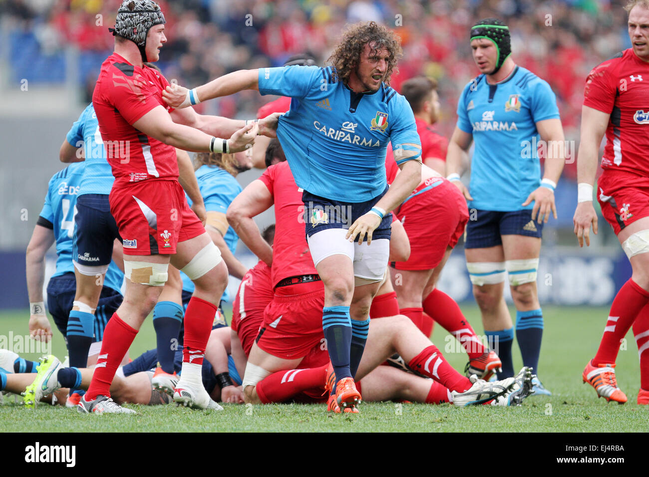 Rome, Italy. 21st March, 2015. Mauro Bergamasco (Italy) reacts during the Six Nations international rugby union - Stock Image