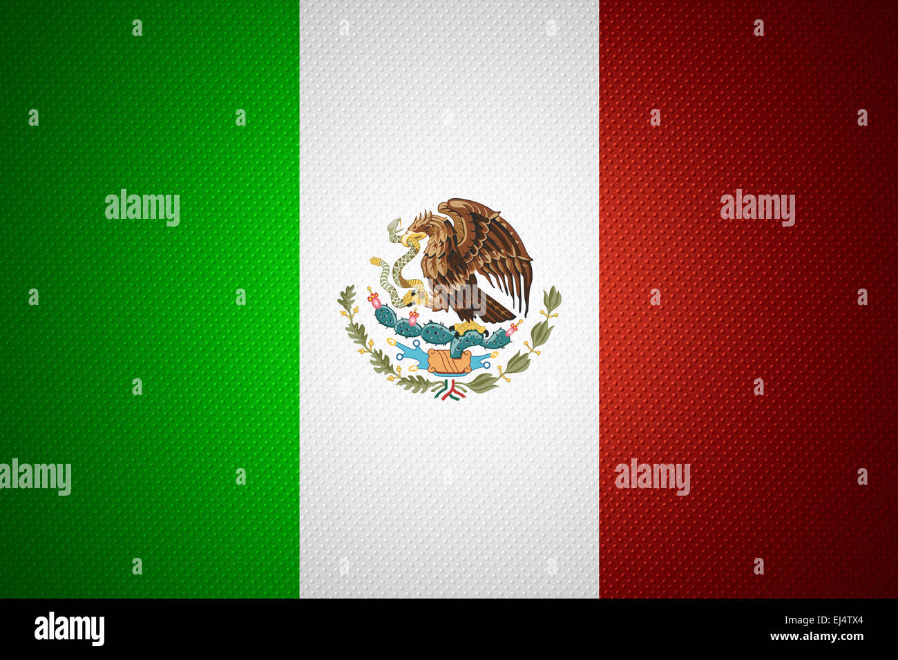 Mexico flag or Mexican banner on abstract texture - Stock Image