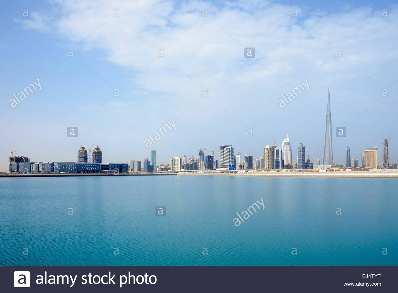 Skyline across The Creek towards skyscrapers on Sheikh Zayed Road and the new Dubai Design District (D3) Dubai United - Stock Image