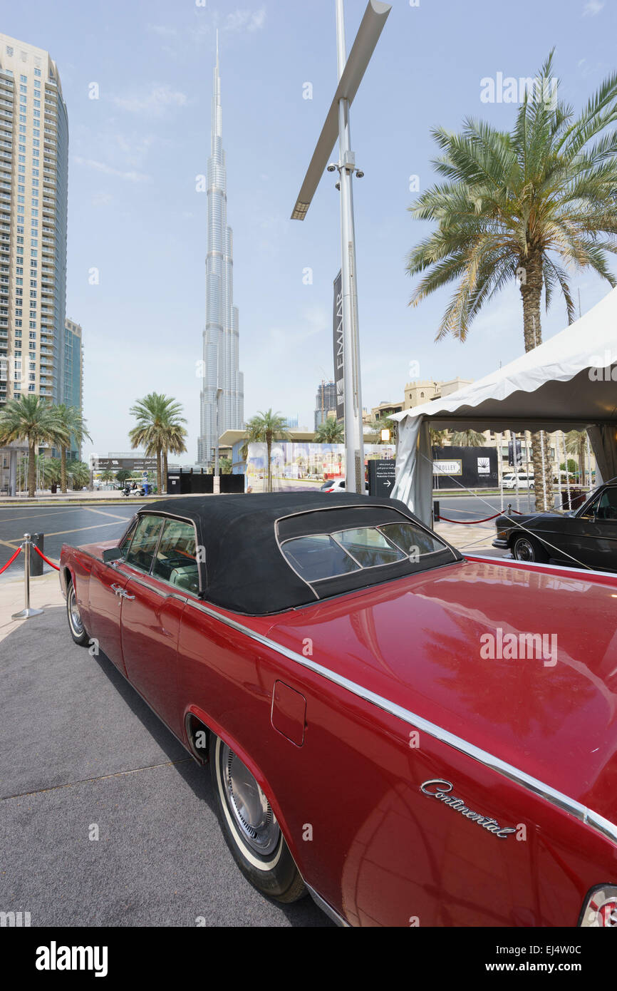 Vintage car on display at the Emirates Classic Car Festival March 2015 in Downtown district of Dubai United Arab - Stock Image