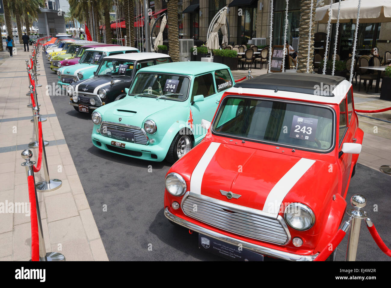 Vintage Mini cars on display at the Emirates Classic Car Festival March 2015 in Downtown district of Dubai United - Stock Image