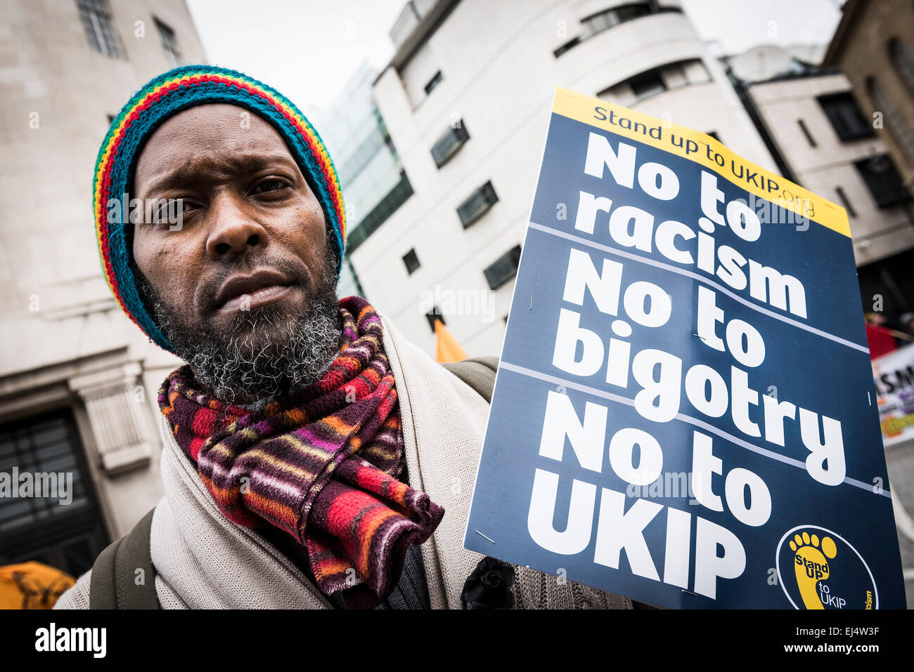 Saturday 21st March, 2015. London. Adolfo from London participates in the Stand Up To Racism demo in London today. - Stock Image